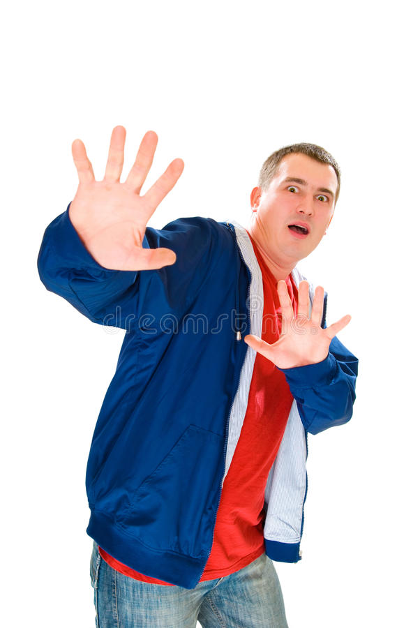 Afraid men say stop with palm up. Isolated on white stock photos