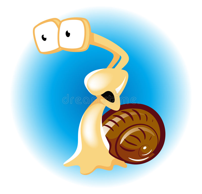 Download Afraid snail on blue stock vector. Illustration of small - 4279024