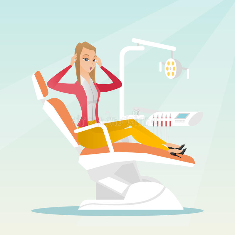 Afraid woman sitting in the dental chair. stock illustration