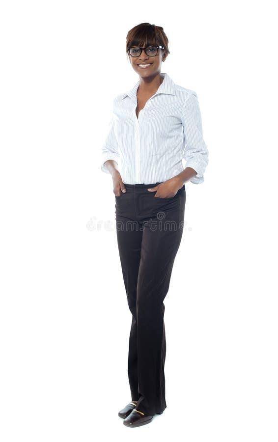 afrian女实业家充分的华美的长度 免版税库存照片