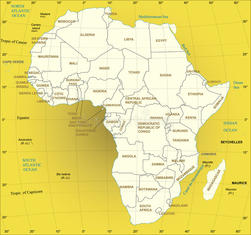 africa översikt stock illustrationer