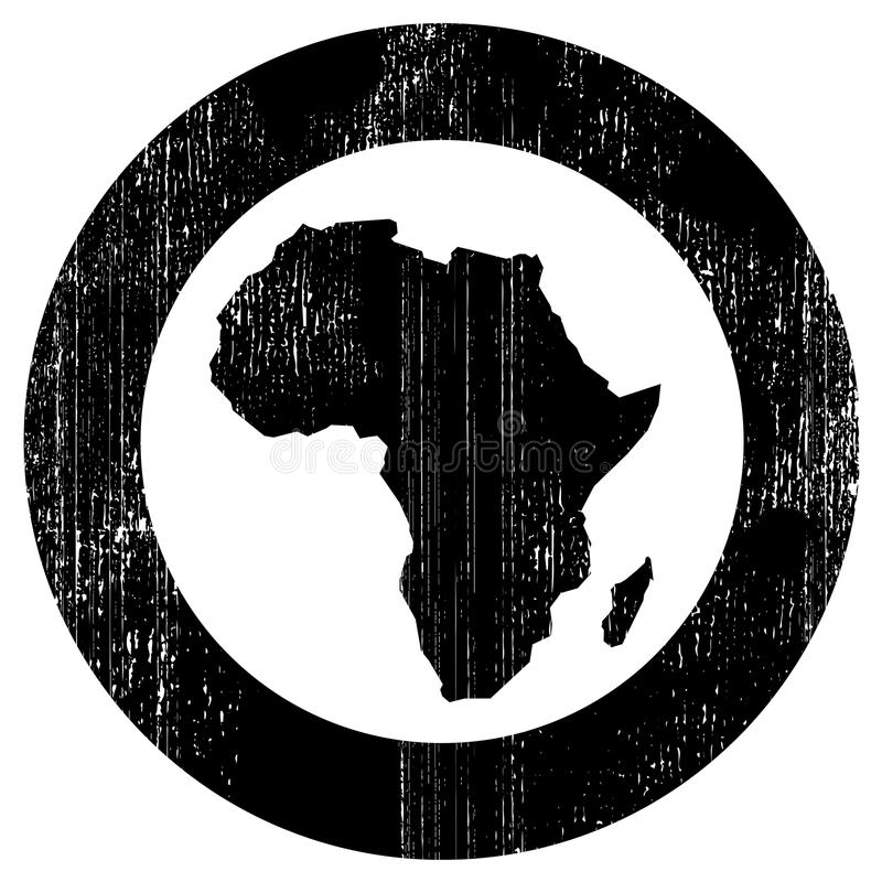 Africa. Silhouette of african continent inside the black circle