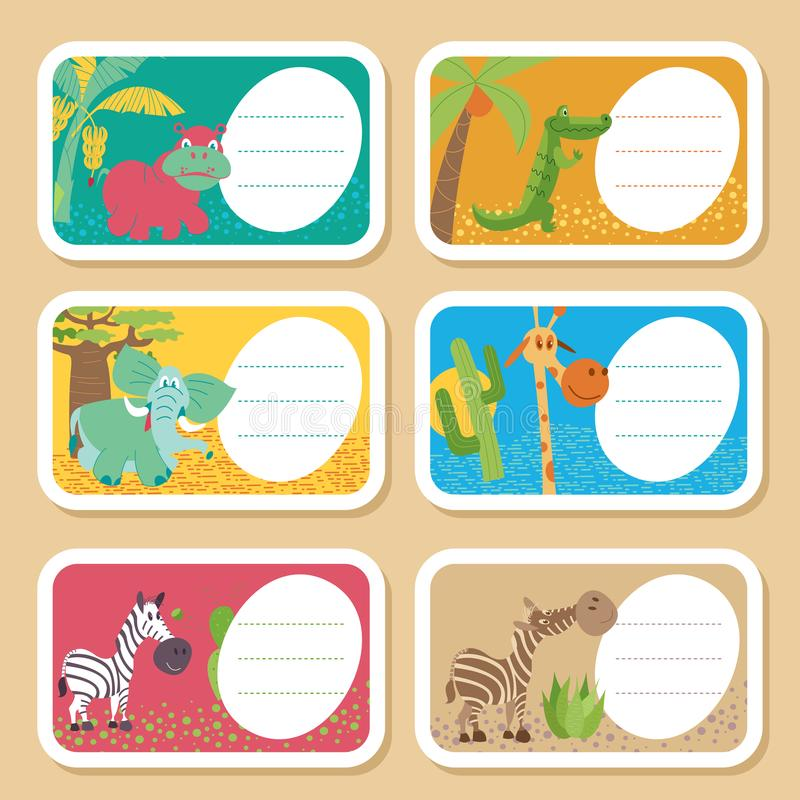 Africa. African animals and plants. Set of vector illustrations in cartoon style. royalty free illustration