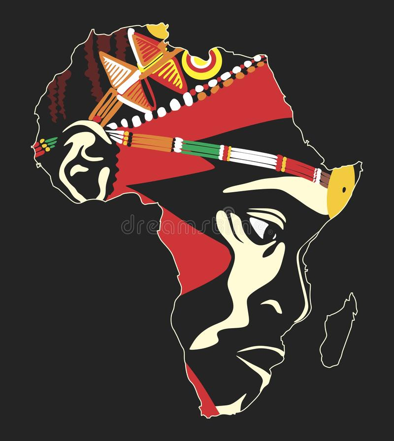 Africa. N warrior's face inscribed in the contour of the continent