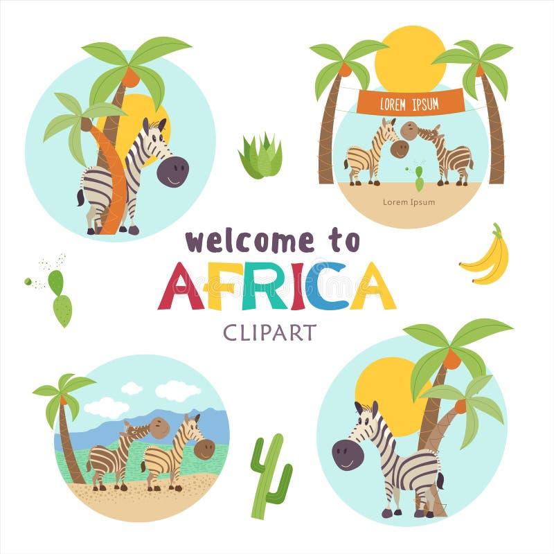 africa Afrykańscy zwierzęta i rośliny Set wektorowe ilustracje w kreskówka stylu royalty ilustracja