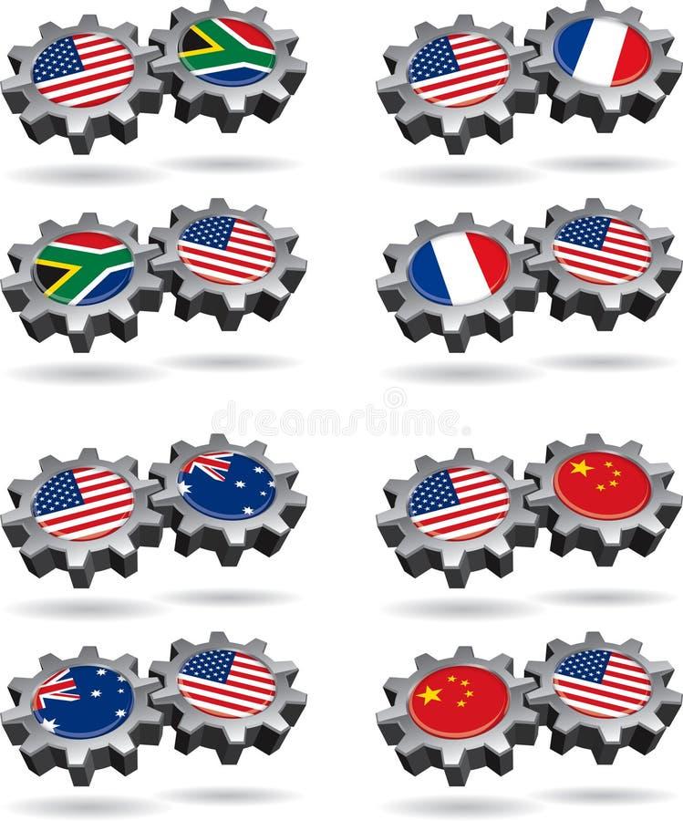 africa Amerika Australien france söderarbeten vektor illustrationer