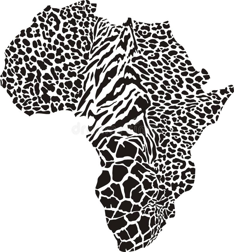 Africa in a animal camouflage royalty free illustration