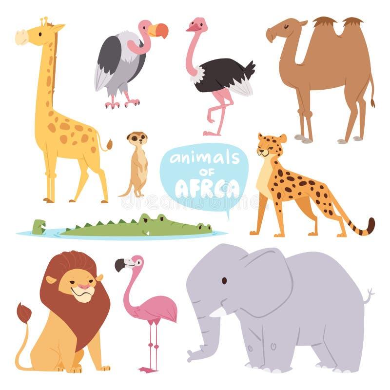 Africa animals large outdoor graphic travel desert mammal wild portrait and cute cartoon safari park national savannah. Elephant flat vector illustration royalty free illustration