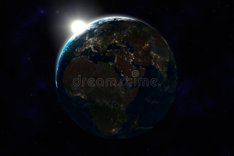 africa Asia ziemska Europe noc strona ilustracji