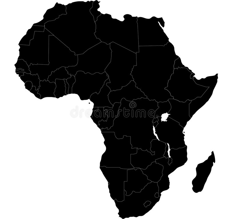 Africa blind map. Blind map of Africa with country borders. Names of the countries and their capital are in an additional format (.AI) in the latent layer