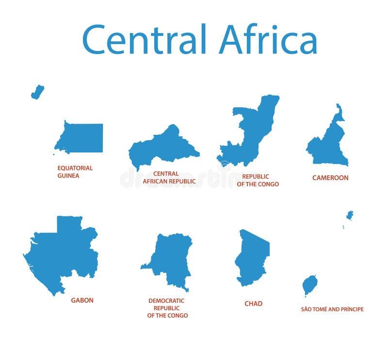 Africa centrale - mappe dei territori illustrazione vettoriale