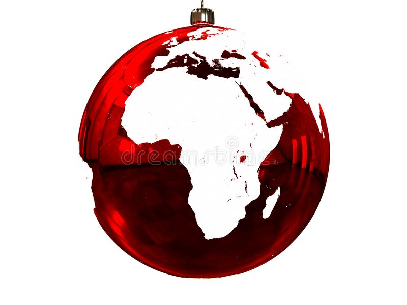 Africa on Christmas ball. Red Christmas ball with texture of Earths surface facing Africa. 3D illustration, isolated on white background vector illustration