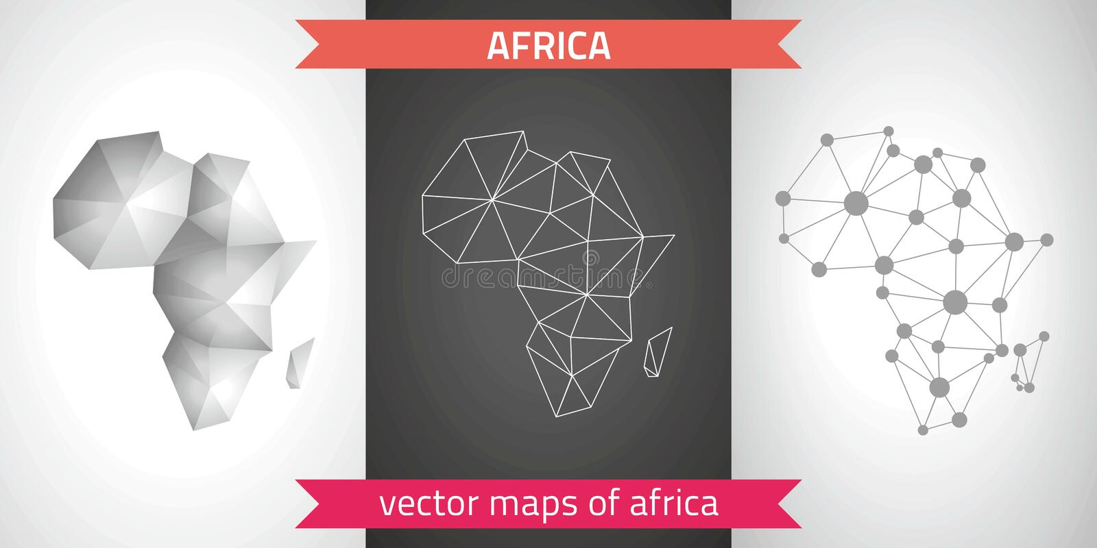 Africa collection of vector design modern maps, gray and black and silver dot contour mosaic 3d map royalty free illustration