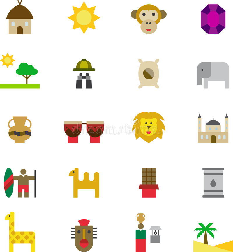 AFRICA colored flat icons vector illustration