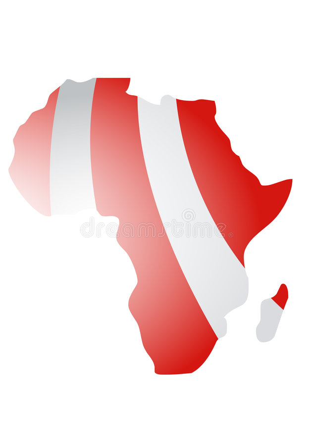 Africa continent designed in illustration. This illustration represents Africa continent designed in illustration with red stripes stock illustration