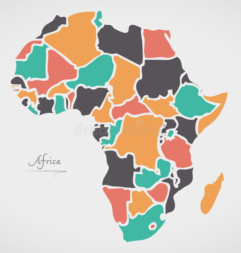 Africa Continent Map with states and modern round shapes stock illustration
