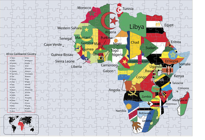 Download Africa Continental Country Flags And Map Puzzle Stock Vector - Image: 9758676