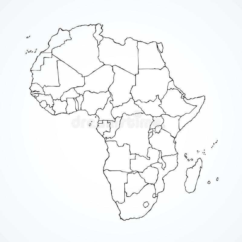Africa with contours of countries. Vector drawing royalty free illustration
