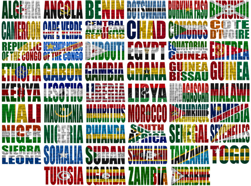 Africa countries flag words