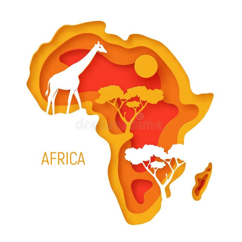 africa Dekoracyjnego 3d papieru rżnięta mapa Afryka kontynent z dzikie zwierzę sylwetkami 3d papieru r?ni?tego eco ?yczliwy proje ilustracja wektor