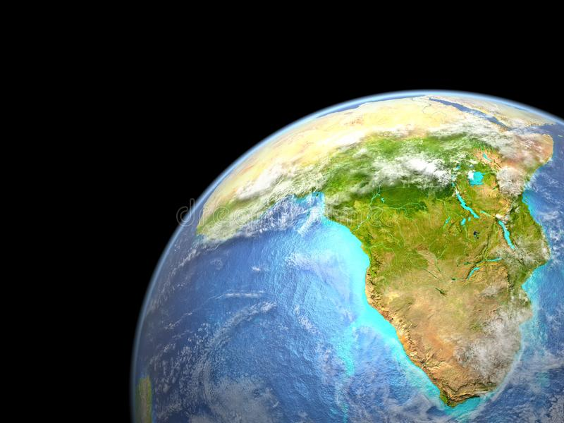 Africa on Earth from space. Very fine detail of planet surface, realistic clouds and visible ocean floor. 3D illustration. Elements of this image furnished by stock illustration