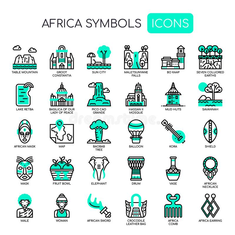 Africa Elements , Pixel Perfect Icons. Africa Elements , Thin Line and Pixel Perfect Icons royalty free illustration