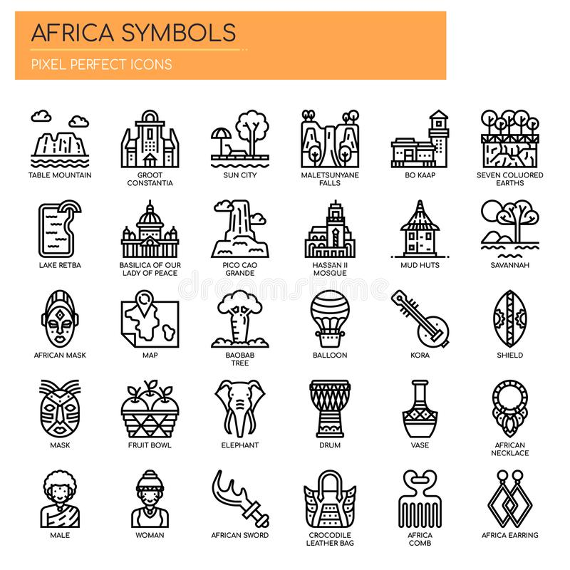 Africa Elements , Pixel Perfect Icons. Africa Elements , Thin Line and Pixel Perfect Icons stock illustration