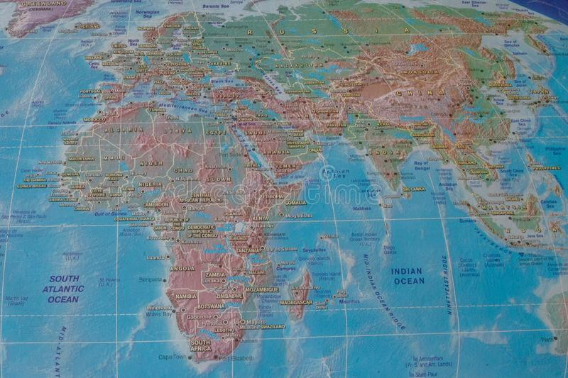 Africa and Eurasia on the map of the world.  stock image