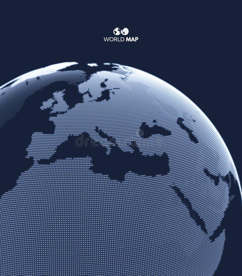 africa Europe - globus ziemi Globalnego biznesu marketingowy poj?cie Kropkowany styl Projekt dla edukaci, nauka, sieci prezentacj royalty ilustracja