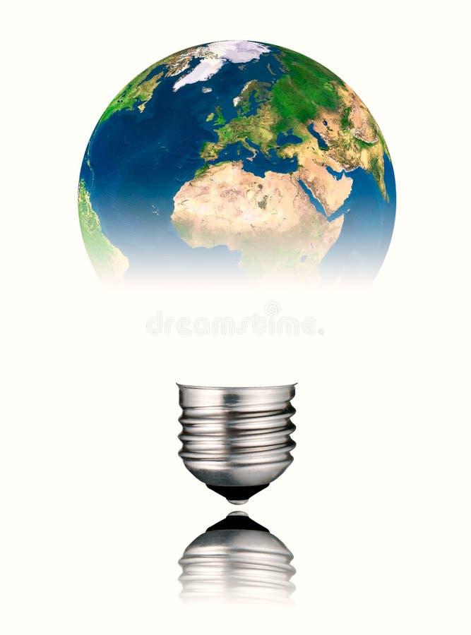 africa Europe lightbulb kształta świat zdjęcie stock