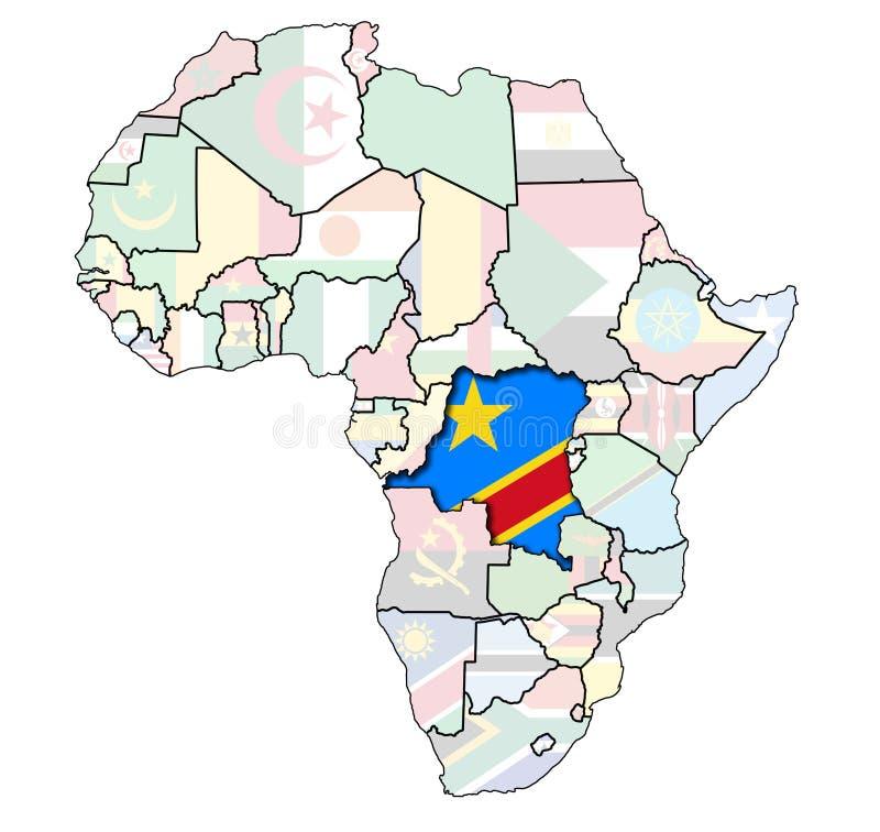 africa flaga mapa stara royalty ilustracja