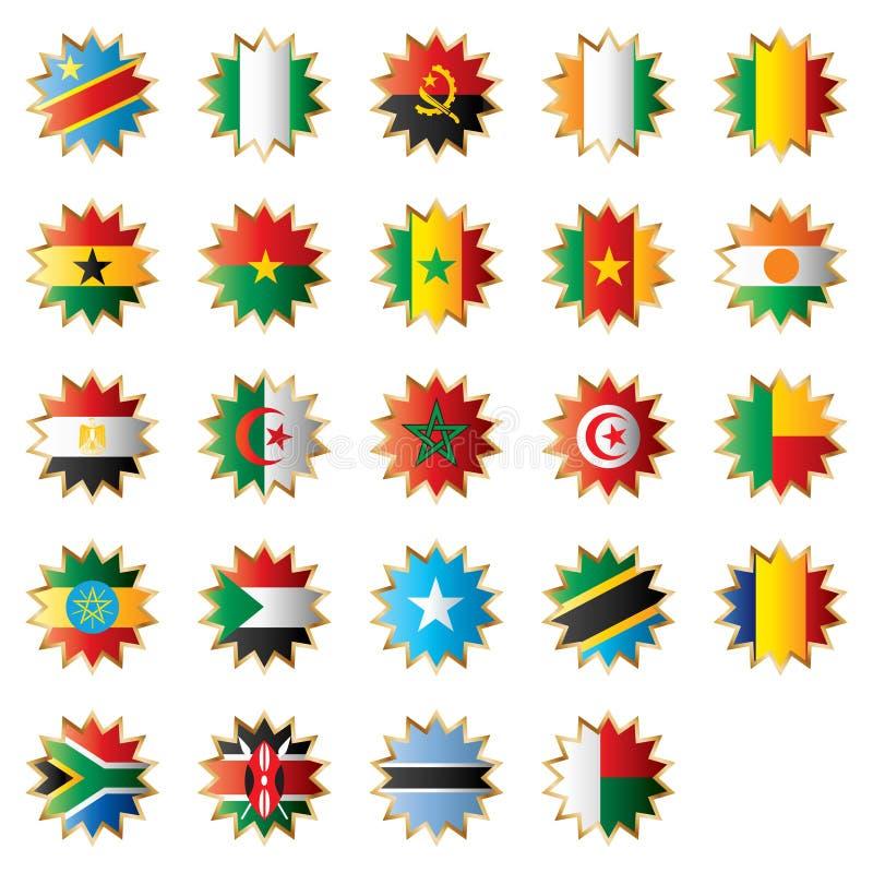 africa flaggor formade stjärnan royaltyfri illustrationer