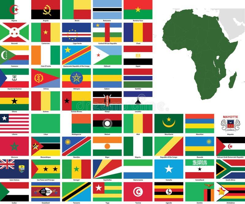 africa flags översiktsvektorn