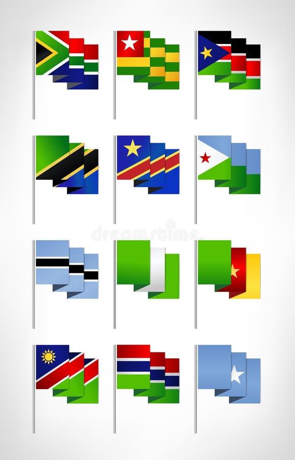 Africa flags set. Cartoon flat design 2 royalty free illustration