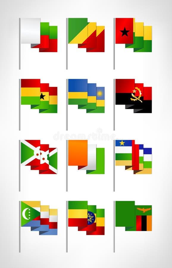 Africa flags set. Cartoon flat design 3 royalty free illustration