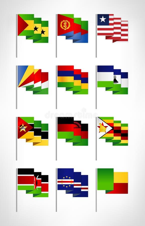 Africa flags set. Cartoon flat design 4 vector illustration