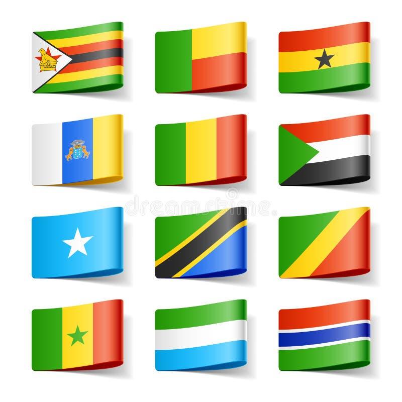 africa flags världen royaltyfri illustrationer