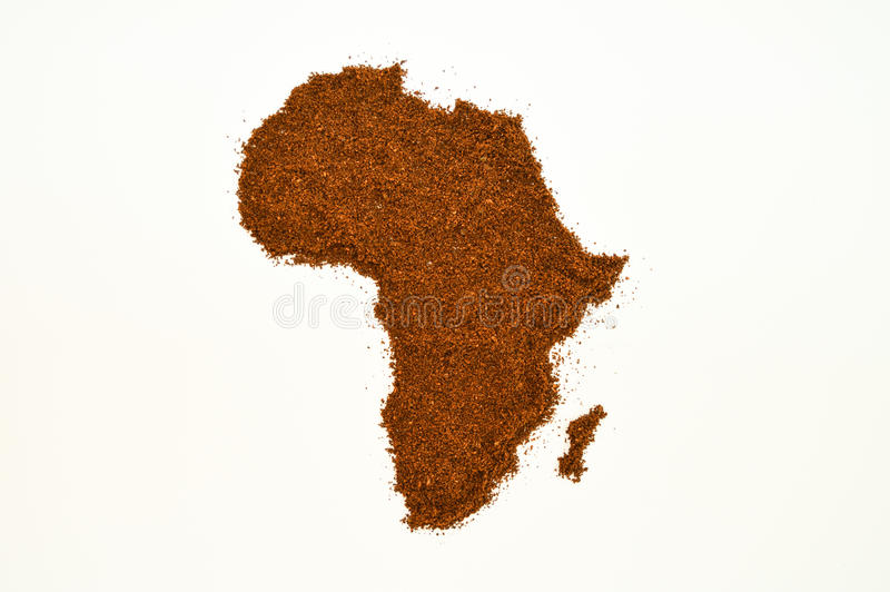 Africa formed with coffee powder stock images