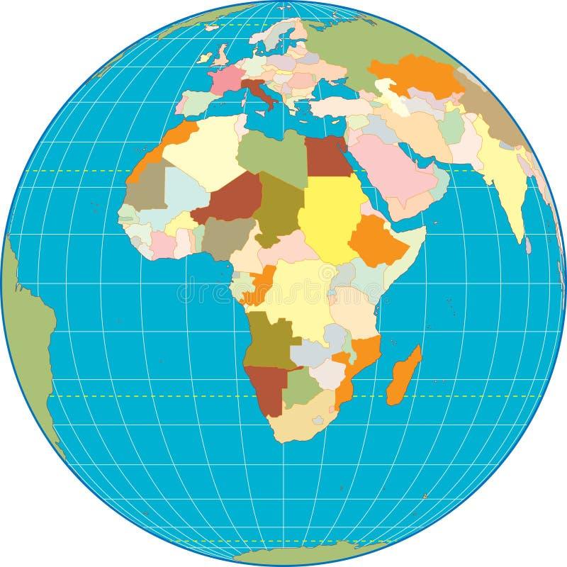africa globe vektor illustrationer