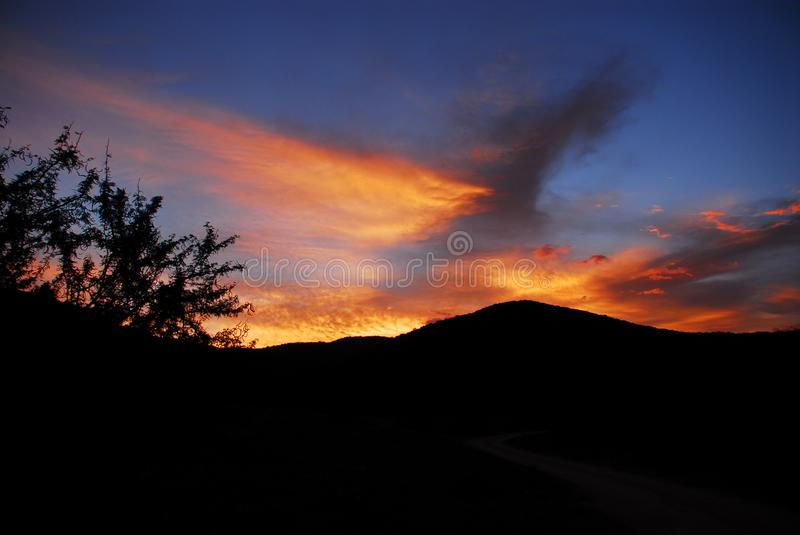 Africa- A Gorgeous Sunset in the South African Hills and Bush royalty free stock photography