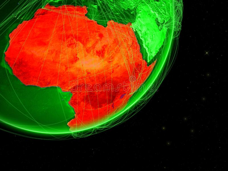 Africa on green Earth with network. Concept of connectivity. May represent air traffic, internet or telecommunications. 3D stock illustration