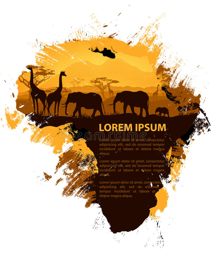 African Travel Design Template Animal Tree And Continent Silhouettes