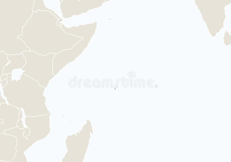 Africa with highlighted Seychelles map vector illustration