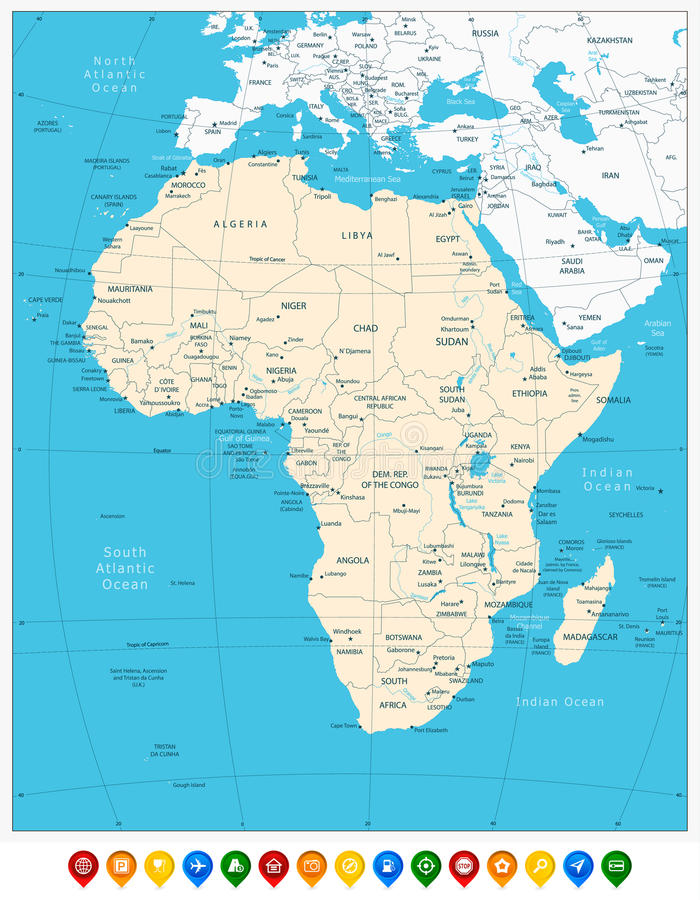 Africa highly detailed map and colored map pointers. Vector illustration stock illustration