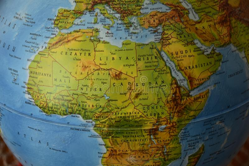 Africa - Highly detailed political map. Highly detailed political map of america with roads, railroads and water objects. All elements are separated in layers stock image