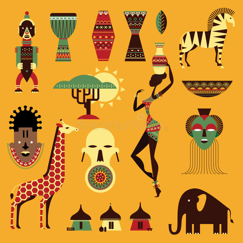Africa icons royalty free illustration