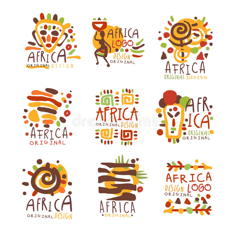 Africa logo original design. Travel to Africa colorful hand drawn vector llustrations. For use in the tourist industr stock illustration