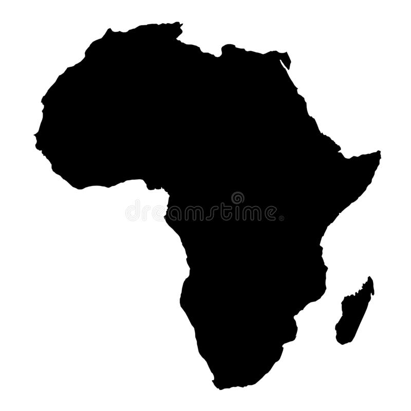 Africa map black silhouette country borders on white background. royalty free illustration
