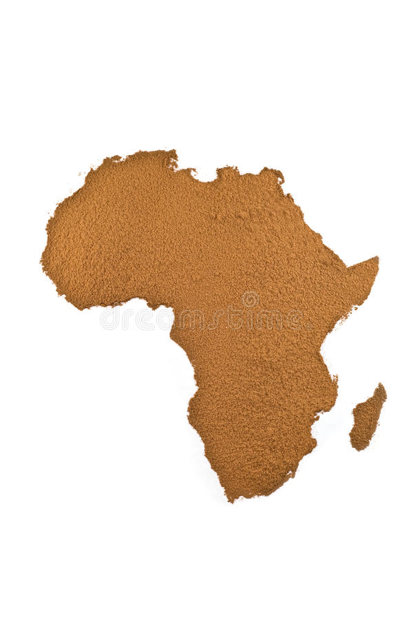 Africa map from cacao powder stock photo