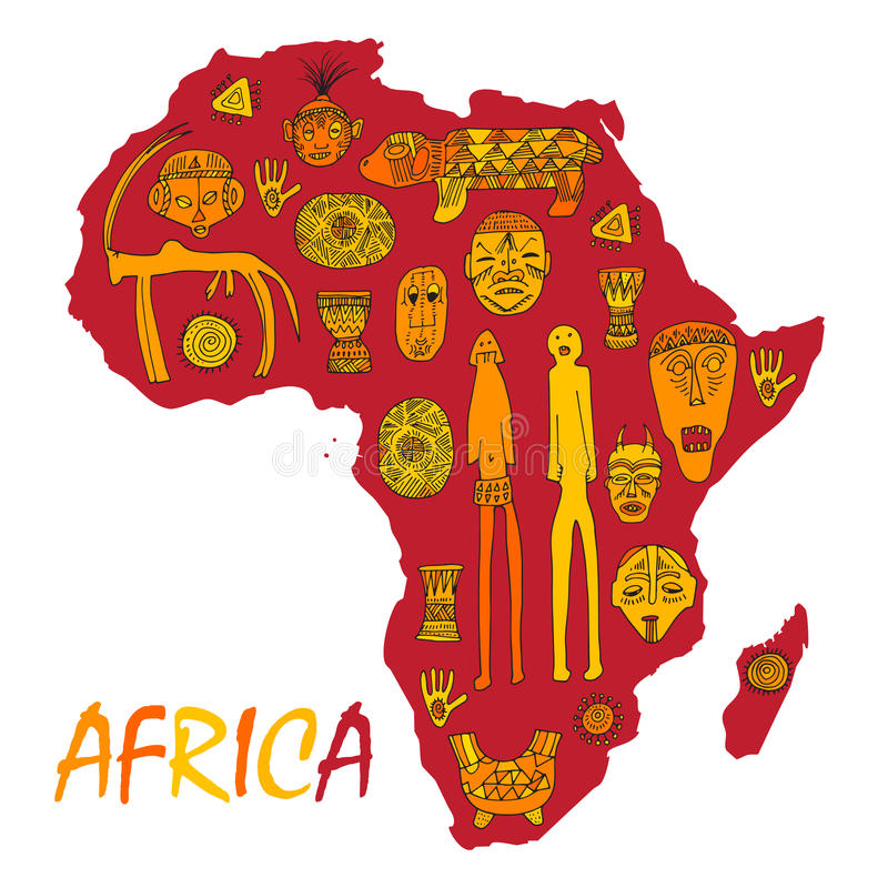 Africa Map With Different Ancient Symbols And Signs Stock Vector
